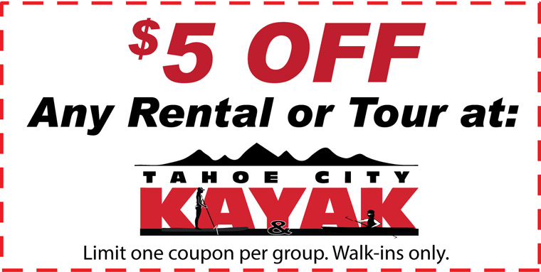 Sales & Promotions - Save $5 at Tahoe City Kayak